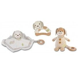 Lot de peluche, doudou et hochet Chien Everearth