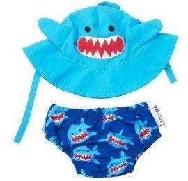 Zoocchini ensemble maillot de bain et Chapeau Requin