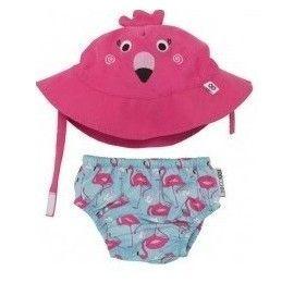 Zoocchini ensemble maillot de bain et chapeau Flamant rose