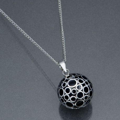 Bola de grossesse email noir et décoré de bulle d'argent
